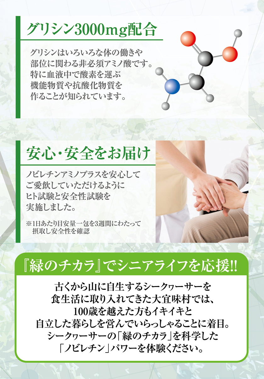 グリシン300㎎配合|グリシンはいろいろな体の働きや部位に関わる非必須アミノ酸です。特に血液中で酸素を運ぶ機能物質や抗酸化物質を作ることが知られています。 安心・安全をお届け|ノビレチンアミノプラスを安心してご愛飲していただけるようにヒト試験と安全性試験を実施しました。※1日あたり目安量一包を3週間にわたって摂取し安全性を確認 『緑のチカラ』でシニアライフを応援!!古くから山に自生するシークヮーサーを食生活に取り入れてきた大宜味村では、100歳を超えた方もイキイキと自立した暮らしを営んでいらっしゃるこちに着目。シークヮーサーの「緑のチカラ」を科学した「ノビレチン」パワーを体験ください。